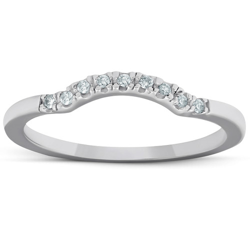 1/15ct Curved Contour Notched Diamond Wedding Ring 14K White Gold (G/H, I1)