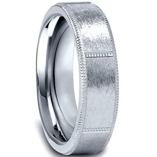 10K White Gold 6mm Comfort Fit Mens Wedding Band