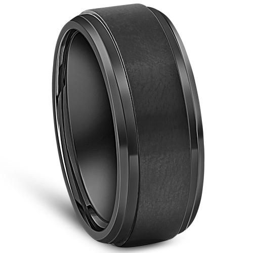 Black Titanium Mens Comfort Fit Brushed Beveled Polished Edge Wedding Band 9MM