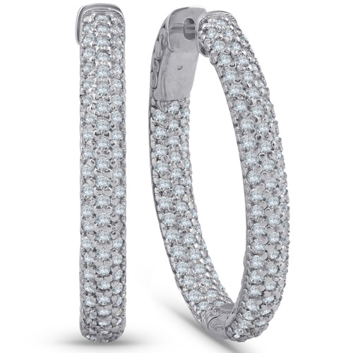 2 1/2 Ct Diamond Hoops 14k White Gold Pave Womens Inside Outside Earrings (F, VS)