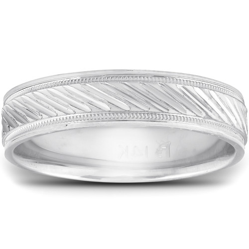 14k White Gold 5mm Flat Mens Hand Carved Wedding Band
