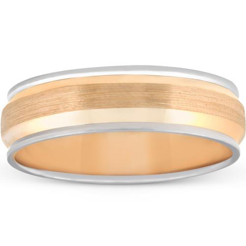 6MM 14k White & Yellow Gold Two Tone Brushed Wedding Band Mens Beveled Ring