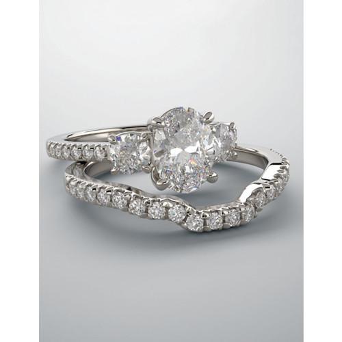 1 1/2 Ct Oval Shape Diamond Engagement Ring Wedding Set 14k White Gold (G, SI2-I1)