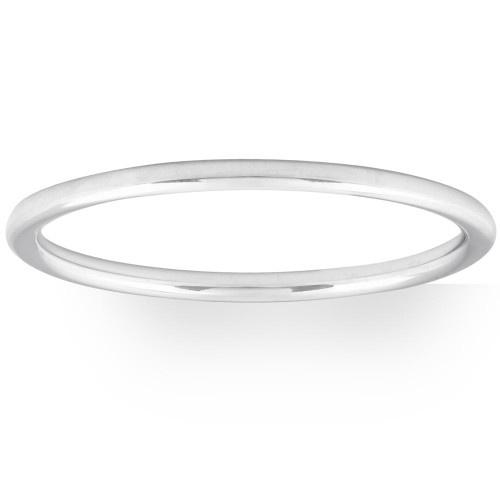 Thin Wire Round Dome 10k Gold High Polished Wedding Band Stackable Ring