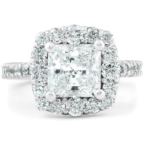 2 1/2 Ct Princess Cut Halo Diamond Engagement Ring 14k White Gold (G, SI2-I1)