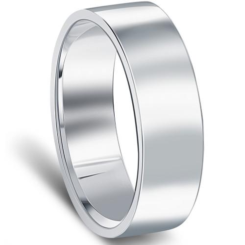 10k White Gold 6mm Flat Comfort Fit High Polished Wedding Band Mens Ring