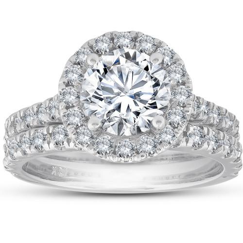 3 Ct Diamond Halo Engagement Ring Matching Wedding Band Set 14k White Gold (G, SI2-I1)