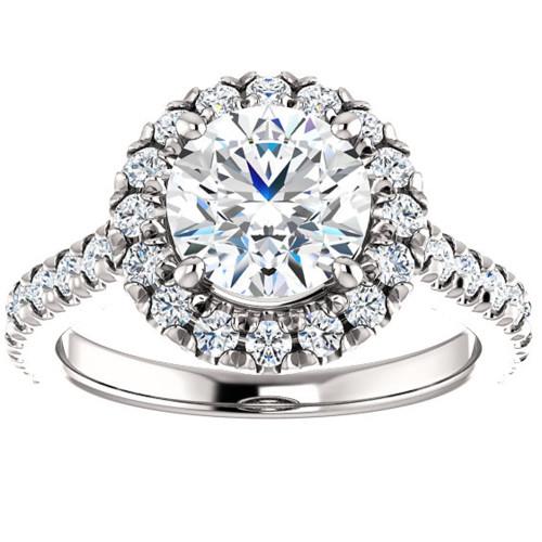 2 1/2 Ct Halo Diamond Round Cut Engagement Ring 14k White Gold (G, SI2-I1)