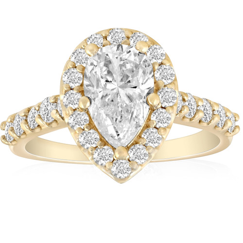 2 Ct Pear Shape Halo Diamond Engagement Ring 14k Yellow Gold (G, SI2)