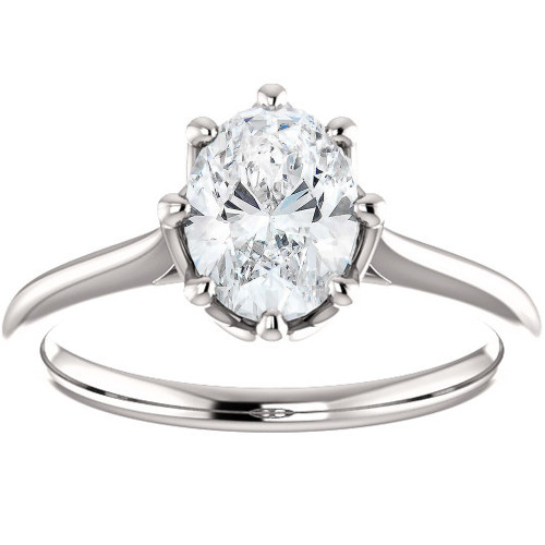 1 Ct Oval Diamond 8-Prong Solitaire Engagement Ring 14k White Gold (G, SI2-I1)