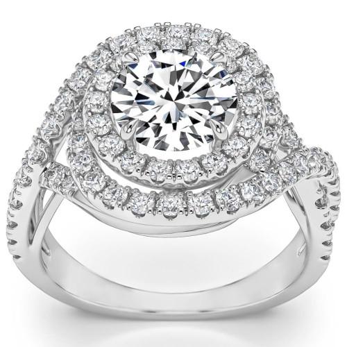2 5/8 Ct Round Diamond Halo Engagement Ring 14k White Gold (H, SI2-I1)
