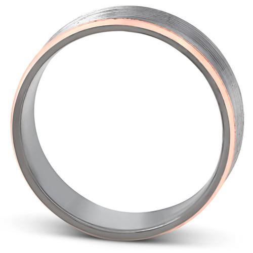 7mm 14k Rose Gold & Black Grooved Mens Ring Wedding Band