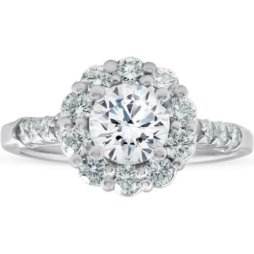 2 3/4 Ct Round Diamond Halo Engagement Ring 14k White Gold (H, SI2-I1)