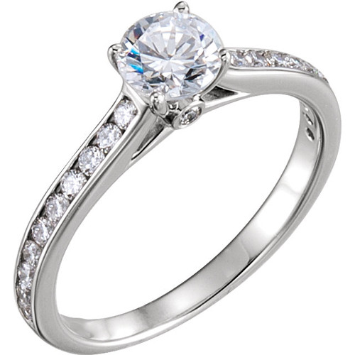 1 Ct Diamond Engagement Ring 14k White Gold Channel Set Cathedral Style (H, I1-I2)