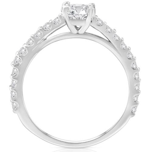 1 Ct Round Cut Diamond Engagement Ring Single Row 14k White Gold (H, I1-I2)