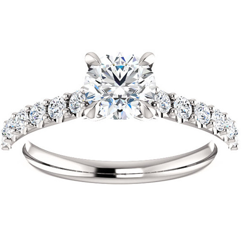 1 Ct Round Diamond Engagement Ring 14k White Gold Prong Set Single Row (H, I1-I2)