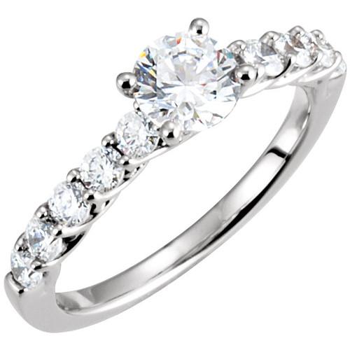 1 1/4 Ct Diamond Woven Design Engagement Ring 14k White Gold Round Cut (H, I1-I2)