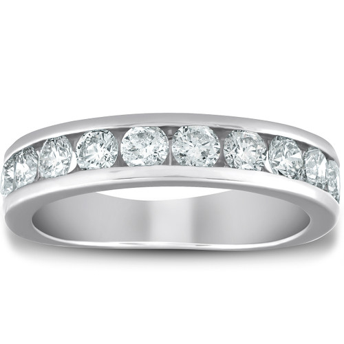 1 1/2 Ct Diamond Wedding Ring Channel Set Half Eternity Womens Band White Gold (H, I1)
