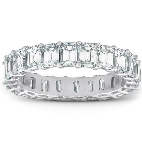 Platinum 4.60 Ct Emerald Diamond Eternity Ring Womens Anniversary Band (F, VS1)
