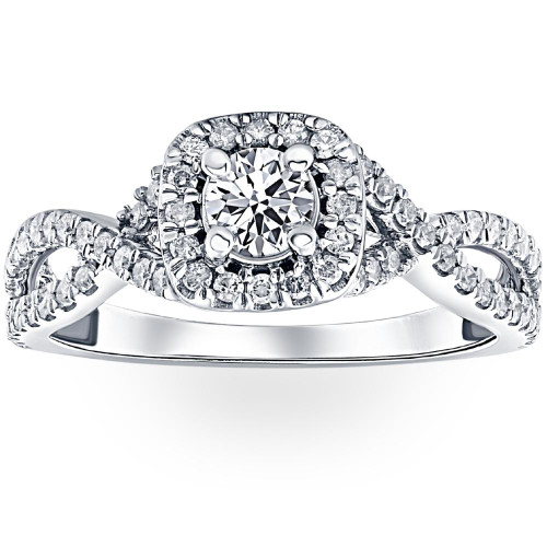 1 Ct Diamond Cushion Halo Engagement Ring in 14k White Yellow or Rose Gold (H, I1-I2)
