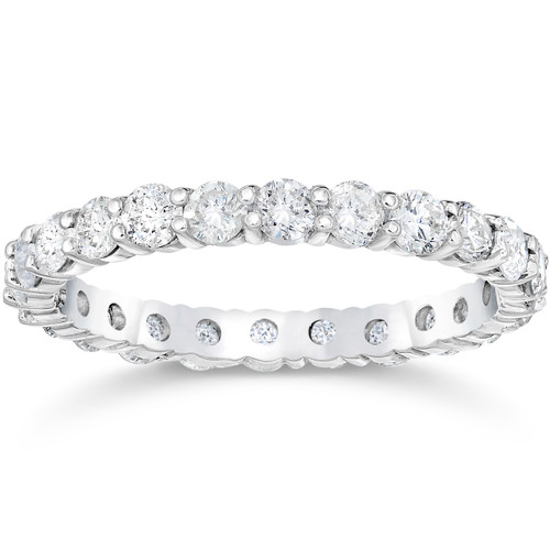 1 1/2 Ct Diamond Eternity Wedding Ring 14k White Gold (I/J, I1-I2)