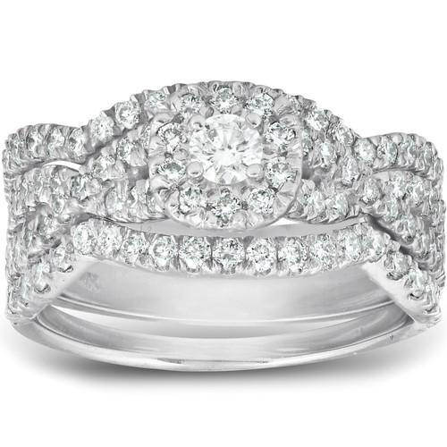 1 1/4 Ct Cushion Halo Diamond Engagement Wedding Ring 3-Piece Set White Gold (H, I1-I2)