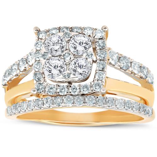 1 1/10 Ct Diamond Cushion Halo Engagement Ring Wedding Set 10k Yellow Gold (H, I1-I2)