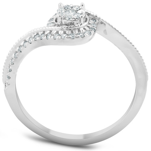 1/3 Ct Diamond Twist Halo Round Engagement Ring 10k White Gold (H, I1-I2)