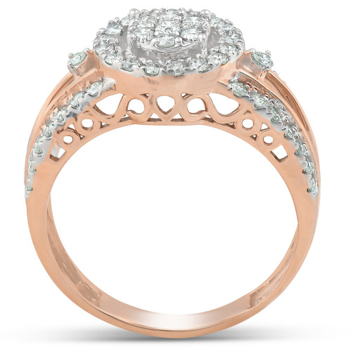 3/4 Ct Halo Round Diamond Multi Band Engagement Ring 10k Rose Gold (H, I1-I2)