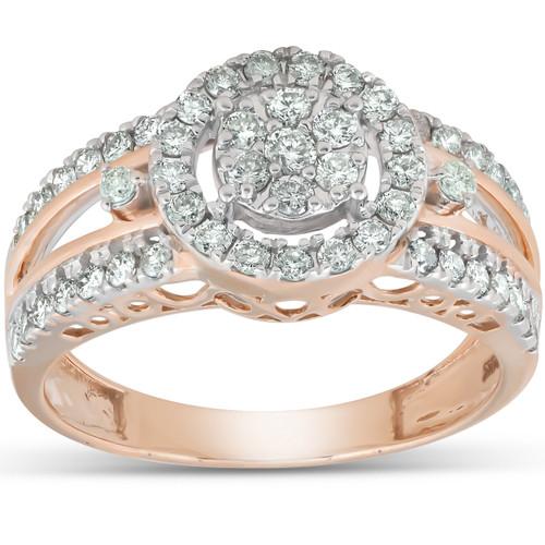 3/4 Ct Halo Round Diamond Multi Band Engagement Ring 10k Rose Gold (H, I1-I2)