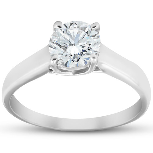 1 1/4 Ct Solitaire Round Cut Diamond Engagement Ring 14k White Gold Enhanced (H, I1)