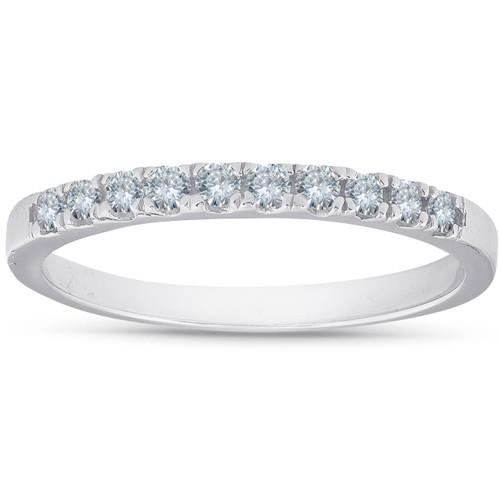 1/4 Ct Diamond Wedding Ring 10K White Gold Womens Stackable Anniversary Band (H, I1-I2)