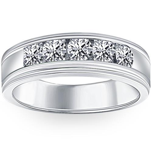 1 Ct Mens Diamond 5-Stone Wedding Ring Channel Set Classic Ring 10k White Gold (H, I1-I2)
