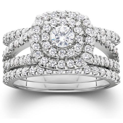 1 1/4 Ct Three Ring Diamond Cushion Halo Engagement Wedding Band Set White Gold (H/I, I1-I2)