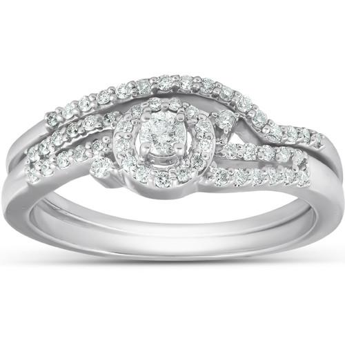 1/3 Ct Diamond Engagement Ring Twist Halo Wedding Band Set 10 White Gold (H/I, I1-I2)
