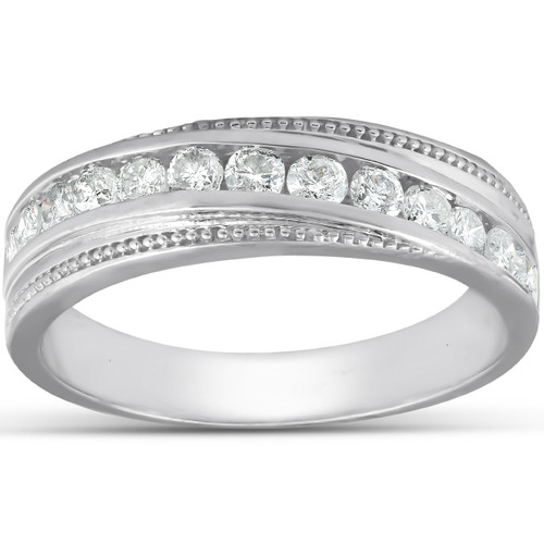 1/2 Ct Mens Diamond Wedding Ring With Bead Accent High Polished 10k White Gold (H, I1-I2)