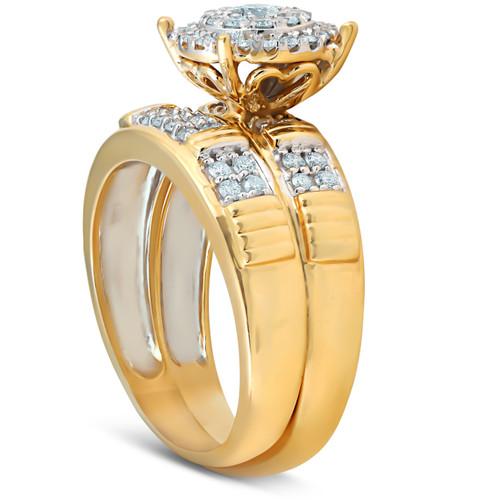 3/4 Ct Halo Diamond Engagement Wedding Ring Set 10k Yellow Gold (H/I, I1-I2)