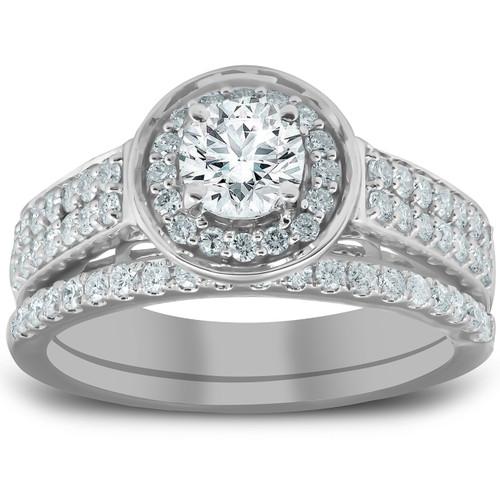 1 1/4 Ct Diamond Halo Double Band Engagement Ring & Wedding Band Set White Gold (H/I, I1-I2)