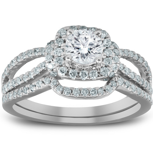 1 1/4 Ct Cushion Halo Split Band Halo Diamond Engagement Wedding Ring White Gold (H/I, I1-I2)