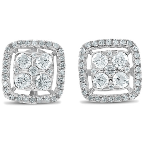 1/2 CT Diamond Cushion Halo Studs Womens Earrings 10k White Gold (G-H, I1-I2)