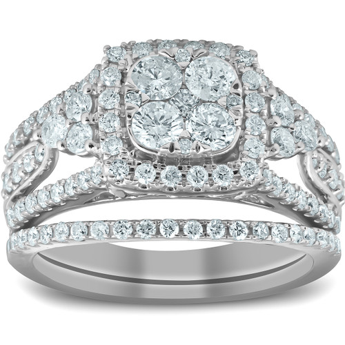 1 1/2 Ct Cushion Halo Round Diamond Engagement Wedding Ring Set 10k White Gold (H/I, I1-I2)