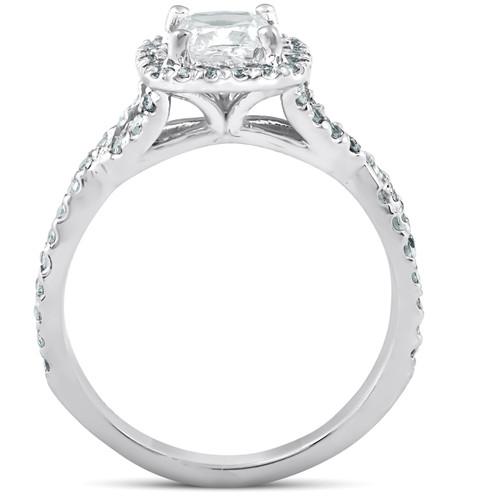 1 1/2 Ct Cushion Diamond Halo Twisted Band Engagement Ring 14k White Gold (H/I, I1-I2)