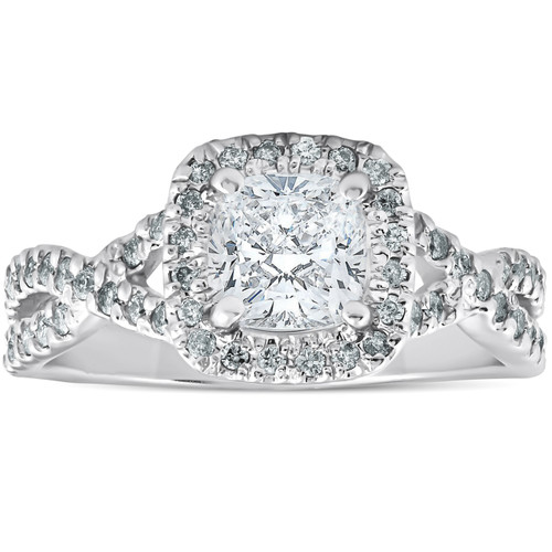1 1/2 Ct Cushion Diamond Halo Twisted Band Engagement Ring 14k White Gold (H/I, I1-I2)