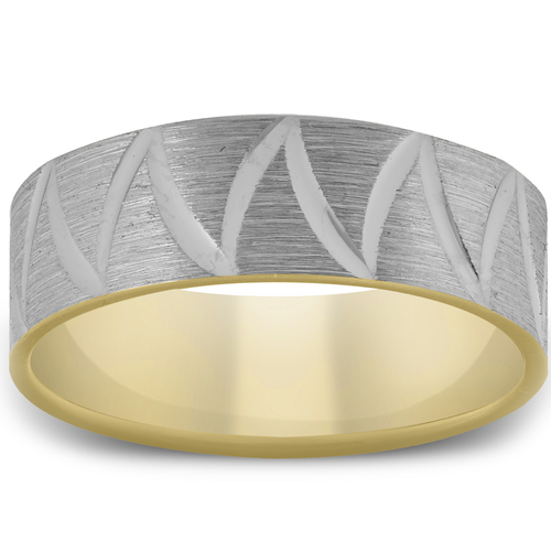 10k Yellow Gold Two Tone 6mm Flat Brushed Comfort Fit Wave Mens Wedding Band