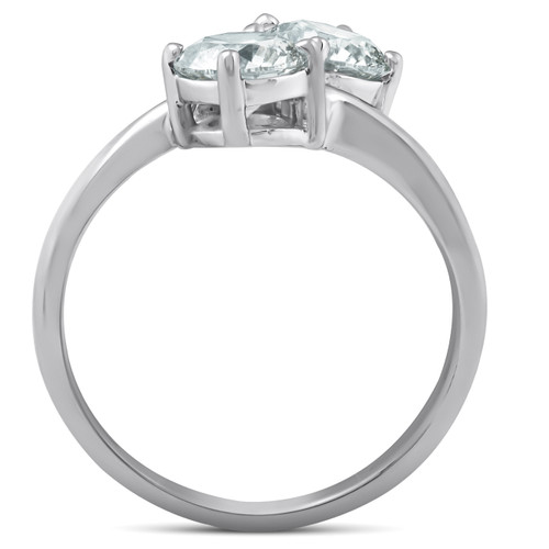 1 1/2 Ct Two Stone Diamond Forever Us Engagement Ring 14k White Gold (H/I, I1-I2)