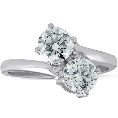 1 1/2 Ct Two Stone Diamond Forever Us Engagement Ring 14k White Gold (H/I, I1-I2)