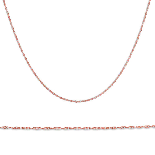 """Solid 14k Rose Gold 18"""" Chain With Spring Ring"""