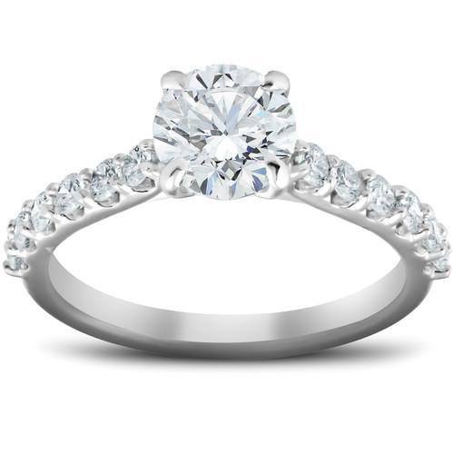 2 Ct Single Row Round Diamond Engagement Ring 14k White Gold (G/H, SI1-SI2)