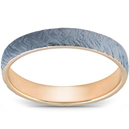 4mm Band 14k Yellow & Black Gold Brushed Mens Wedding Ring
