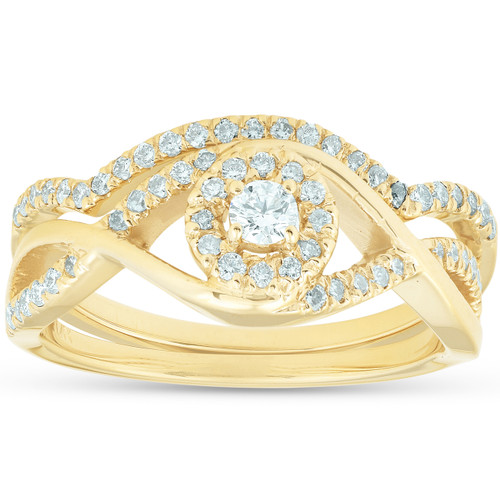 3/8CT Diamond Engagement Wedding Ring Set Infinity Twist Halo 10k Yellow Gold (H, I1-I2)